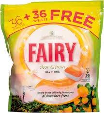 Fairy Dishwasher Tablets Citrus Grove 36 + 36 free. £10 @ Asda