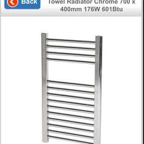 Flomasta Flat Ladder Towel Radiator Chrome 700 x 400mm 176W 601Btu WITH FREE VALVES £29.99 @ Screwfix