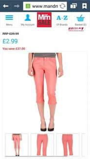 women's 3/4 trousers pink £6.98 delivered @ mandmdirect