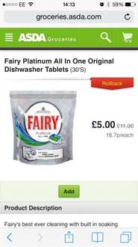 Fairy platinum dish washer tablets 30 £4 @ Asda