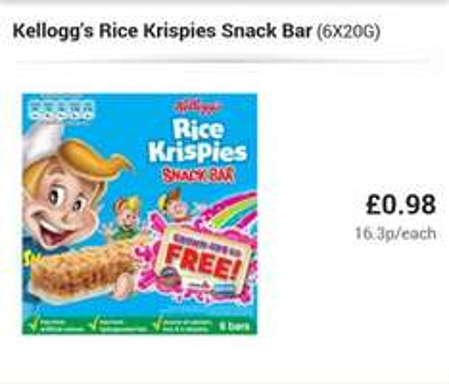 Rice Krispy Cereal Bars 98p Asda