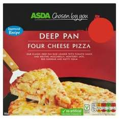 ASDA FROZEN PIZZA ROLLBACK TO 85p from pound. Plenty to choose from, DEEP PAN FOUR CHEESE, HAM & PINEAAPLE, BBQ CHICKEN..... THIN BASE FOUR CHEESE AND PEPPERONI PIZZA.....