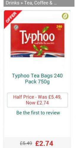 240 Typhoo Tea Bags £2.74 at Morrisons