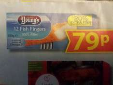 youngs fish fingers 20% extra free so 12 fish fingers for 79p at farmfoods