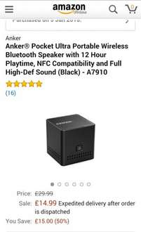 Anker® Pocket Ultra Portable Wireless Bluetooth Speaker £14.99 Sold by AnkerDirect and Fulfilled by Amazon