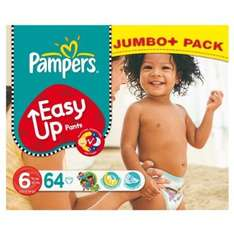 Pampers easy ups size 6 pack 64, size 5 pack 69, or size 4 pack 75 for £10 @ Amazon