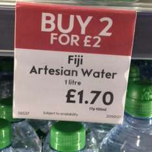 Fiji Water 2 for £2 @ Waitrose Instore/Online