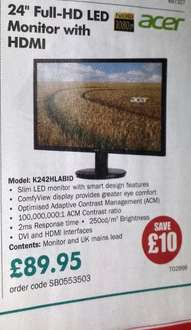 """Acer 24"""" 1080p led monitor hdmi - £107.94 @ cpc.co.uk"""