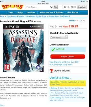 Assassins creed rogue £19.99 at Smyths.com