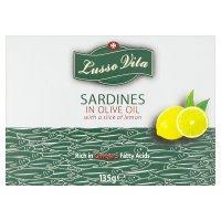 Lusso Vita sardines olive oil with slice of lemon, half price, 74p @ Waitrose,