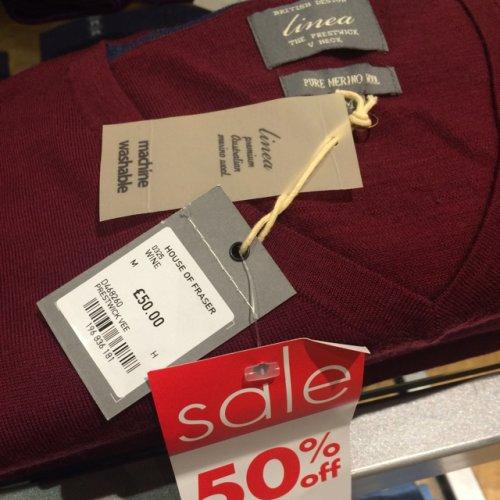 House of Fraser merino wool men's jumper half price £25