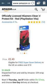Officially Licensed 4Gamers Clean 'n' Protect Kit PS Vita - Red (PlayStation Vita) £2.43 free delivery over £10/prime @ Amazon