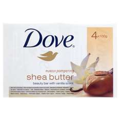 Dove Purely Pampering Shea Butter Beauty Bar 4 x 100g for £1.50 Add On Item Free Delivery for £10 order at Amazon
