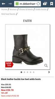 Faith leather biker boots 70% off @ Debenhams online and instore were £89 now £26.70