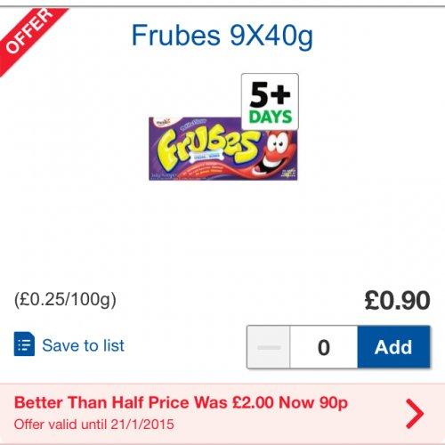 Frubes yogurt 9 x 40g was £2 now 90p @ Tesco