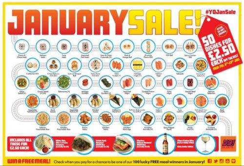 Yo Sushi January Sale £2.50 a plate!