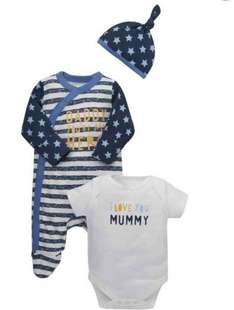 mothercare 3 piece set was £12 now only £5 free click and collect