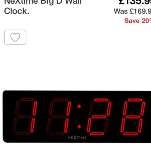 NeXtime wall clock £135.99 @ Argos