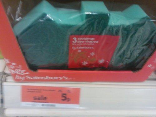 Sainsbury's Xmas tree shaped sponge scourers 5p