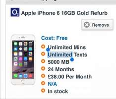 iPhone 6 o2 5gb data 4g Free phone  £38 a month @ Mobiles.co.uk