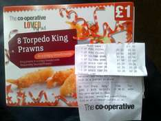 8 Torpedo King Prawns were £1 now reduced to 25p at Co-op