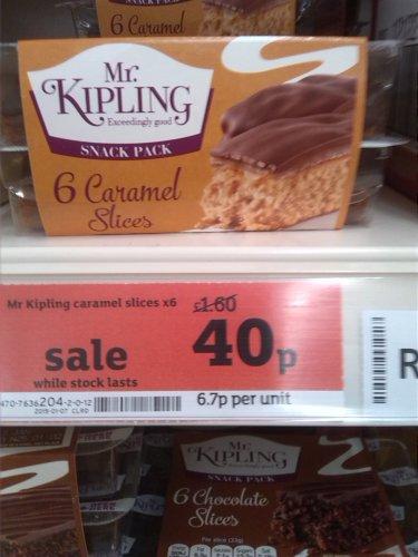 Mr Kipling 6 caramel slices 40p @ Sainsbury's.