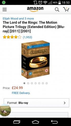LOTR Extended Bluray Boxset £24.99 @ Amazon