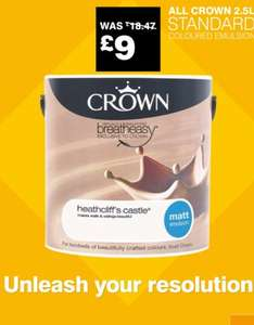 Crown Standard Emulsion £9 at B&Q, all colours. (Was £18.47)