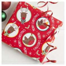 Tesco Direct Reindeer And Robin Wrap 10M only 50p a roll click & collect