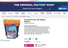 Finish Dishwasher Tablets 100 for £12 or 200 for £20! @ The Original Factory Shop