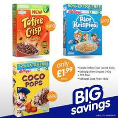 Kellogg's and Nestle Breakfast Cereals on offer @ B & M Toffee Crisp 330g - Rice Krispies 340g + 50% - CoCo Pops 450g All @ £1.99