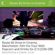 Drive in cinema for 4 with popcorn and drinks in Manchester £13 @ Groupon