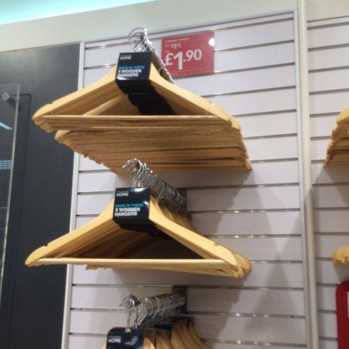 5 Wooden Hangers Reduced £1.90 @ Primark