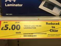 Tesco A4 laminator - reduced to clear £5 instore