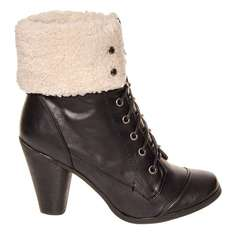 HIGH HEEL FUR BOOTS (BLACK) size 5 only £4.00 plus £2.99 P&P @ Blue Banana