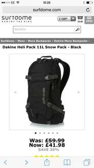 Dakine Heli Pack / backpack 11ltr various colours from Surfdome was £59.99 now £35.68