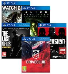 5 PS4 Game Bundle - Watch Dogs + Alien Isolation + The Last Of Us + Drive Club + Wolfenstein - £85 with code - ShopTo/Rakuten