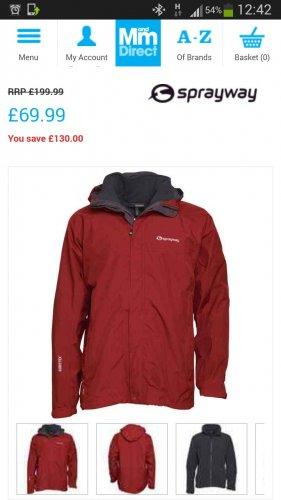 sprayway gore tex coat jacket 3 in 1 £69.99 @ M&M Direct