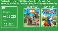 Xbox Live 12 Months + Zoo Tycoon (Xbox one DL code) + Viva piñata (Xbox 360 DL code) = £35.99 at GAME