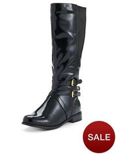 @ Very - Shoe Box Adelaide Buckle Detail Patent Standard Fit Riding Boots Now £21.60. Were £45