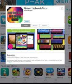 iOS Colored Keyboards Pro by luca calciano RPR £1.49 @ itunes