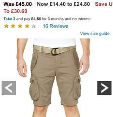 Superdry Mens Core Heavy Cargo Shorts (sand colour) sizes s / m / L £14.40 on very