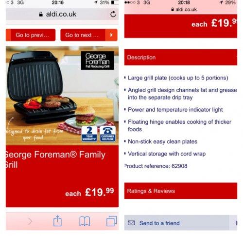George Foreman 5pt grill £19.99 @ Aldi