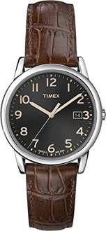 Timex Men's Quartz Watch with Black Dial Analogue Display and Brown Leather Strap T2N948 - Amazon - £15.36
