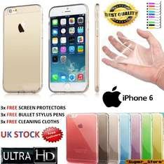 """New iPhone 6 [4.7"""" Screen Display] Premium Quality Shock Absorption Back Case [Ultra Slim 0.3mm] With Silicone Back Panel Cover+ [FREE 3 HD Screen-Protector] + 3 Stylus Pens & 3 Cloths For iPhone 6 £1.99 Delivered at eBay *super_store*"""