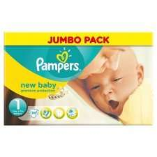 Pampers New Baby Size 1 Newborn Jumbo 74 Pack 2 for £15 @ tesco