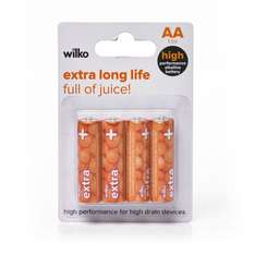 Wilko Power plus Extra Alkaline Batteries. 1. 5V, LR06. Pack of 4x 1. 5V AA batteries. 50p instore