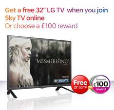 """Free LG 32"""" TV when you take out Sky AND £115 Quidco Cashback"""