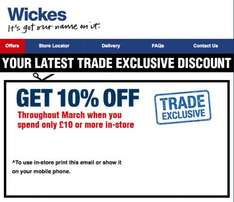 In-store Trade discount @ Wickes