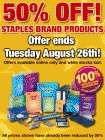50% OFF ALL Staples Branded products till Tuesday